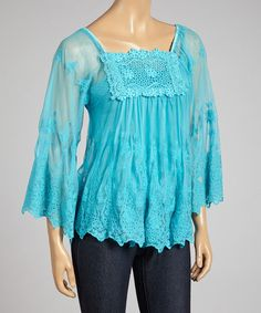 Style NY Blue Embroidered Top | zulily