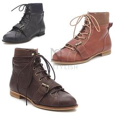 Leather elastic band mid neck lace up boots - shoes 351