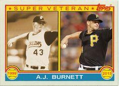 1983 Topps A.J. Burnett Super Veteran, Florida Marlins, Pittsburgh Pirates, Baseball Cards That Never Were