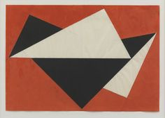 design-is-fine:  Hermann Glöckner, Dreieckige Erhebungen auf Rot, Komposition 1960, 1974. Tempera paint on paper folding. Via n.b.k. Berlin....