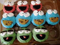 My Elmo, Oscar and Cookie Monster Cupcake Version
