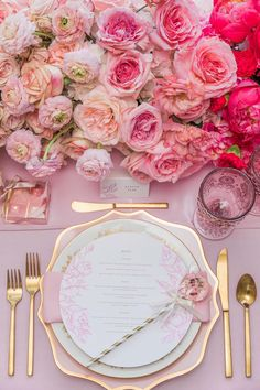 Pink and gold is the ultimate pairing when it comes to wedding tablescapes. Tablescapes / table setting / table decor table pink Proof That Pink Weddings Will Always Be In Style Brunch Wedding, Wedding Table, Wedding Ceremony, Summer Wedding, Pink Wedding Receptions, Tea Party Wedding, Reception Table, Wedding Favours, Wedding Vendors