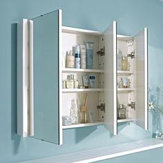 Lux 900mm 3 Door Mirror Cabinet Gloss White - Image 3
