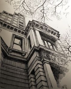 Aren& NYC brownstones charming. Ideal subject for sketchbook. Capture the seasonal view or practice technique. by Mark Poulier Art Discover trending fine art medium with A must-have this season for every artful expression. Art Sketchbook, Architecture Drawing Art, Perspective Art, Ink Art, Architectural Sketch, Smart Art, Architecture Design Drawing, Landscape Sketch, Art Box Subscription