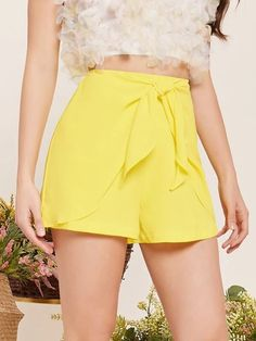 ((Affiliate Link)) Description Style:	Casual Color:	Yellow Pattern Type:	Plain Details:	Tie Front Type:	Wide Leg Season:	Summer Composition:	100% Polyester Material:	Polyester Sheer:	No Fit Type:	Regular Waist Type:	High Waist Closure Type:	Zipper Fly