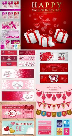 Блог Колибри: Valentine Day Sale vector discount banners pack