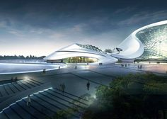 Ribbon-shaped Harbin Cultural Centre by MAD clad in white aluminium, containing theatres and conference facilities, currently under construction.