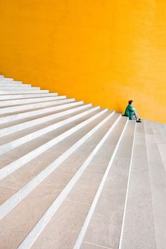 "s0irenic: ""Yellow Wall of building, White concrete stone steps. """