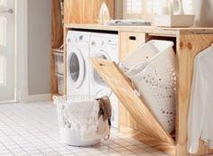 Super Idee für einen versteckten Wäschekorb. So sieht es doch gleich viel aufgeräumter aus