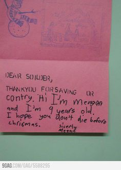 A friendly letter my friend received while in Iraq.