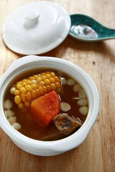 Chinese soup with pumpkin, pork, corn...minus the pumpkin for me & replace it with daikon or carrot