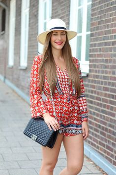 red printed romper | by Fabes Fashion - A Los Angeles based Life and Style Blog #romper #fedorahat #chanel #ootd #blogger #fashionblogger #losangeles