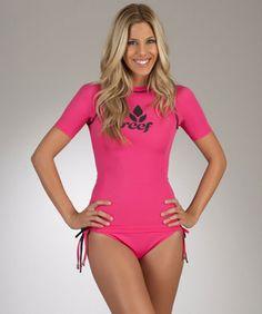 Reef Solid Pink Ocean Swell Rashguard and Tie Bikini Bottom Swim Shirts For  Women 7ba5663f2