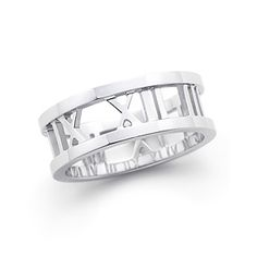 Atlas® open ring in 18k white gold. Wedding band - wedding date in roman numerals. For him. This is really cool.