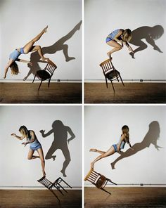 Sam Taylor Wood- Ben, you could use photoshop to place moving figures in unusual scenes Chair Photography, Shadow Photography, Levitation Photography, Creative Photography, Photography Tips, Portrait Photography, Photography Lighting, Panning Photography, Illusion Photography