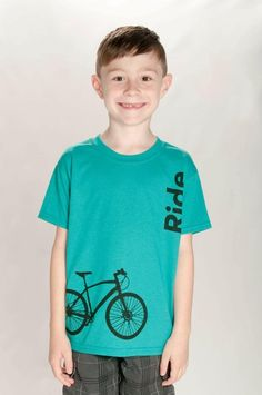 Kids Bike Shirt, Ride Kid's T-Shirt, Biking Kids Shirt, Kids Fashion, Bicycle Design Shirts, Biking Shirts, Kids Graphic Shirts