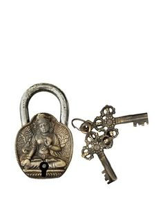 45% OFF Locks of Love Vintage Inspired Brass Padlock with Buddha Design, c1960s