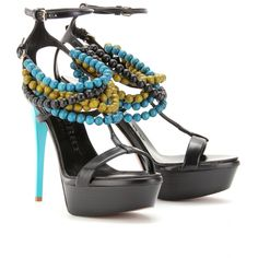 Burberry Prorsum...Black leather platform sandals with a turquoise patent leather covered heel and multi wooded-beaded strap at the ankle