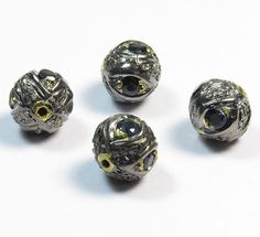 Blue Sapphire & Diamond Pave Beads Finding 1 Pcs 925 by GEMSICON