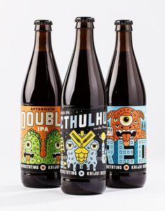 Kaiju Beer: your daily smile : ) PD Cool Packaging, Beverage Packaging, Bottle Packaging, Packaging Design, Coffee Packaging, Beer Brewing, Home Brewing, Ipa, Craft Beer Labels