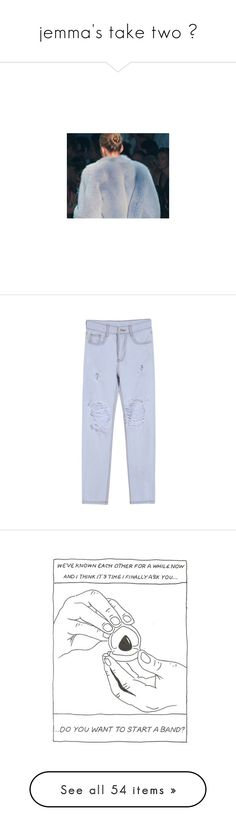 """""""jemma's take two ♥"""" by nanarachell ❤ liked on Polyvore featuring jemmastaketwo, art, pictures, photos, pants, jeans, clothes - pants, sheinside, distressed pants and light blue trousers"""