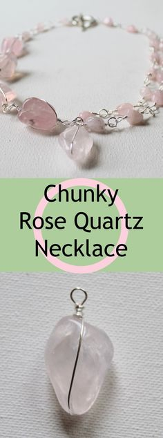 Learn how to make a gorgeous Rose Quartz Necklace using gemstones from Happy Mango Beads. You'll learn to make a decorative wire wrapped bead link and plain wire wrapped bead links. Necklace Tutorial, Diy Necklace, How To Make Necklaces, Quartz Necklace, Metal Stamping, Metal Jewelry, Rose Quartz, Metals, Jewelry Crafts