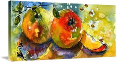 """""""Apples++Bees+Watercolor+painting+by+Ginette""""+by+Ginette+Callaway,+Lovejoy+//+I+painted+a+whole+series+of+small+paintings+that+I+scanned+at+very+high+resolution.+The+originals+have+all+sold.+They+are+now+available+as+prints+up+to+very+large+on+paper+or+canvas.+These+fruit+and+vegetable+images+would+be+great+for+a+modern+or+traditional+restaurant.+//+Imagekind.com+--+Buy+stunning+fine+art+prints,+framed+prints+and+canvas+prints+directly+from+independent+working+artists+and+photographers."""