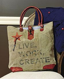 Live, Work, Create Canvas Bag from Country Village Shoppe: http://www.countryvillageshoppe.com/live-work-create-canvas-bag-purse-16x16x4/. See more country products such as these in the Country Sampler's Autumn Decorating 2015 issue: https://www.samplermagazines.com/detail.html?code=CM65102&source=PIN-FPAD15