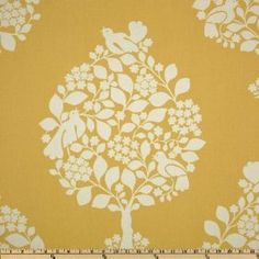 Duralee Home Tree of Life Yellow Fabric La Tavola Linen, Custom Drapes, Yellow Fabric, Curtain Designs, Drapery Fabric, Wall Fabric, Home Decor Shops, Stencil Designs, Home Decor Fabric