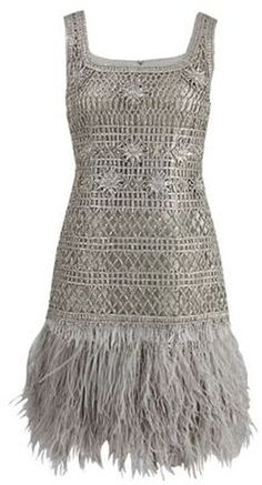 I want to Marry This Dress!  Oscar De La Renta Sleeveless Lame Dress with Feather Hem in Silver