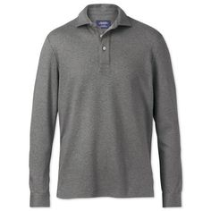 Grey heather long sleeve luxury touch polo