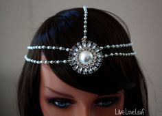 Stunning Handmade Haute Couture Bohemian chic pearl  Bridal headdress by LiveLoveLeaf on Etsy