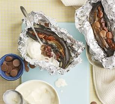 Chocolate baked bananas. These superhealthy treats taste fabulous and are fun to make, try popping them on the barbie.