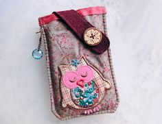 Red Florals Owl  Mobile Phone Pouch-Samsung-Sony from Lily's Handmade - Desire 2 Handmade Gifts, Bags, Charms, Pouches, Cases, Purses by DaWanda.com