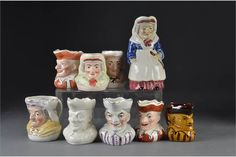 Mr Punch and Judy head jugs: a Staffordshire pair - high; a plain white Mr Pun Puppet Toys, Marionette Puppet, Puppets, Punch And Judy, Toy Theatre, Traditional Toys, Puns, Auction, Teddy Bear