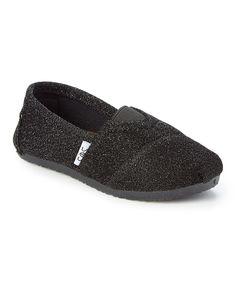 Black Glitter Slip-On Shoe