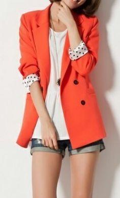 Orange Long Sleeve Double Breasted Polka Dot Cuffs Pockets Slim Blazer
