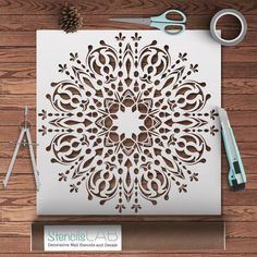 Amazing Mandala- Style Stencil For Decoration - Original Stencil For P – StencilsLab Wall Stencils Paper Art, Paper Crafts, Diy Crafts, Stencil Painting, Stenciling, Large Stencils, Mandala Stencils, Stencil Material, Decoration Originale