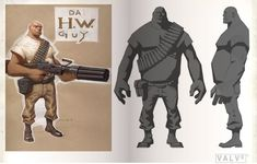 Two-tone, strong silhouette, team fortress