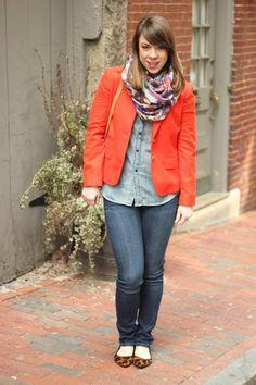 chambray + bright blazer (I have the Gap version of this J. Crew blazer!)