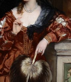 """""""Young Lady with a Rose in her Hair"""" (1871) (detail) by Carl Ludwig Friedrich Becker (1820-1900)."""