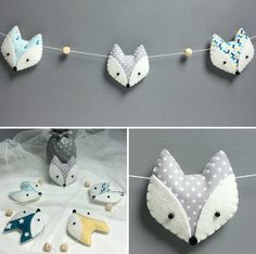 "Guirlande décorative ""RENARDS"" feutrine et tissus assortis - Sewing For Kids, Baby Sewing, Diy For Kids, Felt Garland, Felt Ornaments, Diy Garland, Fox Crafts, Arts And Crafts, Baby Schmuck"