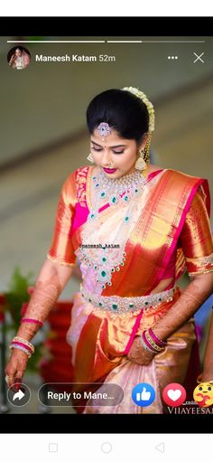 Diamond Jewellery, Gold Jewelry, Jewlery, Gold Necklace, Wedding Saree Blouse Designs, Wedding Sarees, South Indian Bride, Unique Colors, Necklace Designs