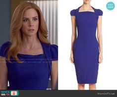 Donna's blue capped sleeve dress on Suits. Outfit Details: https://wornontv.net/59374/ #Suits