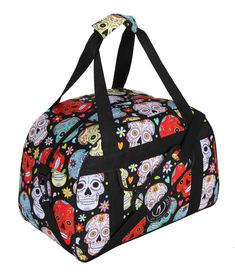 This spirited gym bag is spacious without being bulky to accommodate all your kit including trainers, clothes and a towel. In the funky Black Mexican Skulls design, it features colourful sugar skulls, flowers, hearts and Tikiboo Sports logo.  Perfect for the gym, work or travelling, this bag is super practical and sturdy. An internal pocket and external pouch pocket keep everything organised and the bag comes with double handles and detachable long strap. Sugar Skull Makeup, Sugar Skull Art, Sugar Skulls, Halloween Skull, Vintage Halloween, Halloween Costumes, Halloween Makeup, Candy Skulls, Mexican Skulls