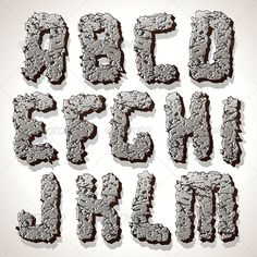 Alphabet Letter Made from Old Cracked Stone Vector  #GraphicRiver
