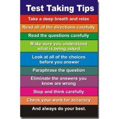 Test Taking Tips - Classroom Poster.  Many of the tips I teach in NECAP and NWEA prep lessons.