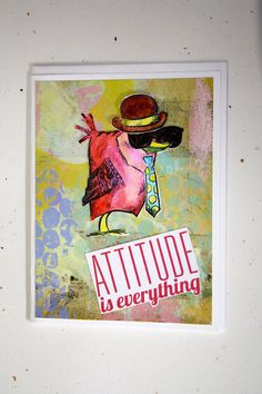 """Bird with a ""Tude""! Whimsical male bird with a hat and sunglasses! for that funky friend who thinks he's ""all that""!    This card is 6"" by 4.5 "".    ~Comes with an envelope in a recloseable plastic sleeve.    ~Left blank inside for you to add your own personal message.    ~We add new unique cards daily, so come visit often! 
