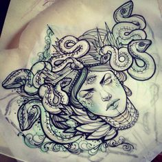 Medusa chest piece with a snake head in the middle Head Tattoos, Love Tattoos, Beautiful Tattoos, Body Art Tattoos, Tattoo Art, Girl Tattoos, Small Tattoos, Piercing Tattoo, Piercings