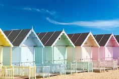 ~ traditional British beach huts on a bright sunny day ~ Blackpool ~ England ~